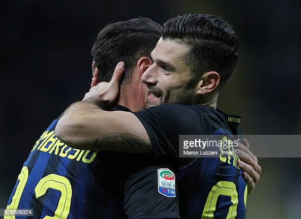 Antonio Candreva of FC Internazionale celebrates with teammates after scoring the second goal during the Serie A match between FC Internazionale and...
