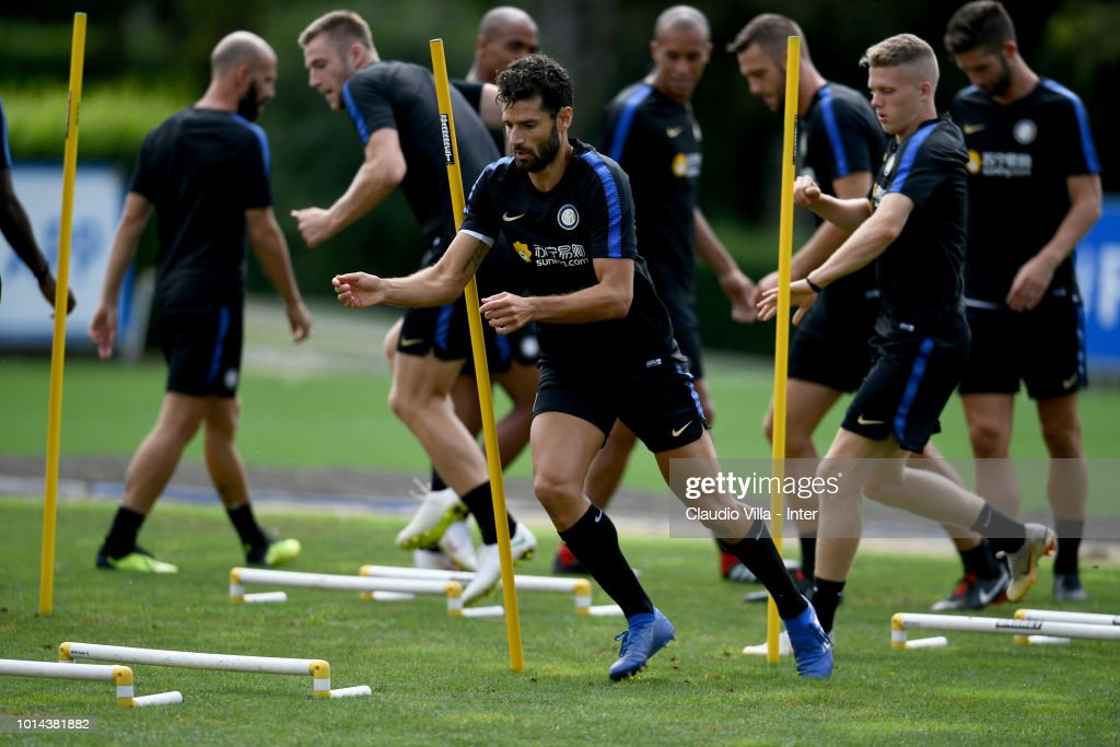 Antonio Candreva of FC Internazionale in action during the FC Internazionale training session at the club's training ground Suning Training Center in memory of Angelo Moratti at Appiano Gentile on August 10, 2018 in Como, Italy.