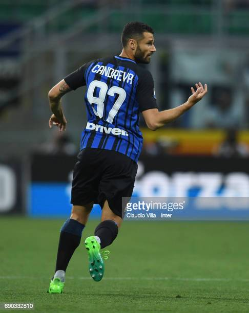 Antonio Candreva of FC Internazionale in action during the Serie A match between FC Internazionale and Udinese Calcio at Stadio Giuseppe Meazza on...