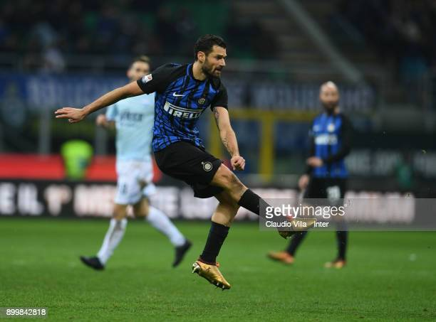 Antonio Candreva of FC Internazionale in action during the serie A match between FC Internazionale and SS Lazio at Stadio Giuseppe Meazza on December...