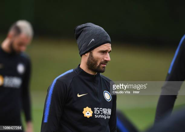 Antonio Candreva of FC Internazionale looks on during a training session at the club's training ground Suning Training Center in memory of Angelo...