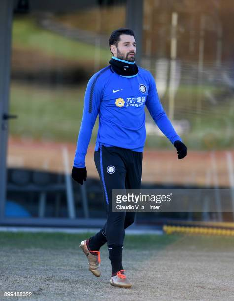 Antonio Candreva of FC Internazionale looks on during the FC Internazionale training session at Suning Training Center at Appiano Gentile on December...