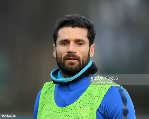 Antonio Candreva of FC Internazionale looks on during the FC Internazionale training session at Suning Training Center at Appiano Gentile on January...