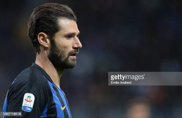 Antonio Candreva of FC Internazionale looks on during the Serie A match between FC Internazionale and AC Milan at Stadio Giuseppe Meazza on October...