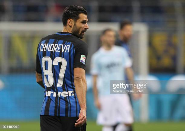 Antonio Candreva of FC Internazionale looks on during the serie A match between FC Internazionale and SS Lazio at Stadio Giuseppe Meazza on December...