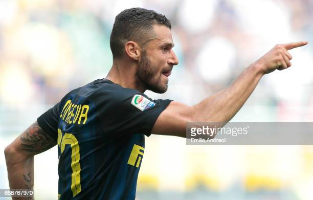 Antonio Candreva of FC Internazionale Milano celebrates after scoring the opening goal during the Serie A match between FC Internazionale and AC...