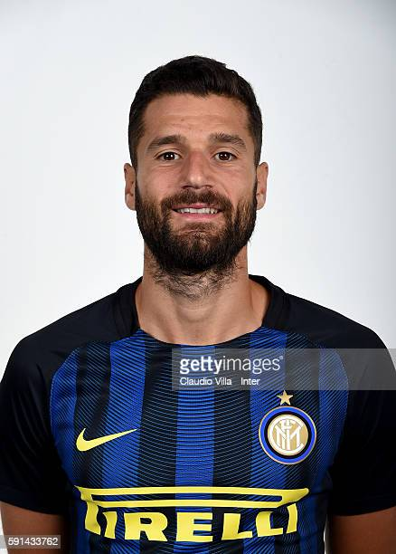 Antonio Candreva of FC Internazionale poses during the official portrait session at Appiano Gentile on August 16 2016 in Como Italy