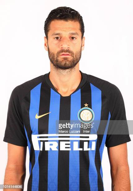 Antonio Candreva of FC Internazionale poses with the club shirt at the club's training ground Suning Training Center in memory of Angelo Moratti on...
