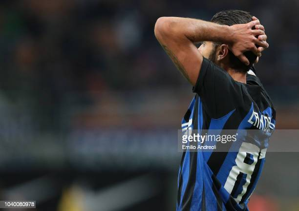 Antonio Candreva of FC Internazionale reacts after misses a chance of a goal during the Serie A match between FC Internazionale and ACF Fiorentina at...