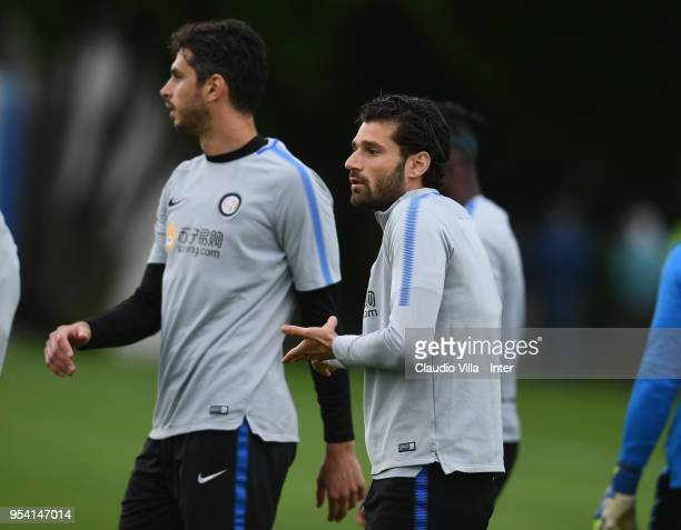 Antonio Candreva of FC Internazionale reacts during the FC Internazionale training session at the club's training ground Suning Training Center in...