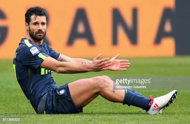 Antonio Candreva of FC Internazionale reacts during the serie A match between Spal and FC Internazionale at Stadio Paolo Mazza on January 28 2018 in...