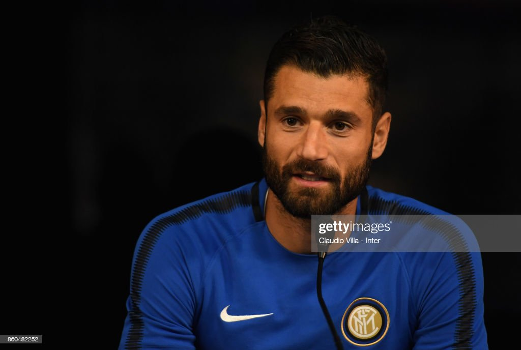 Antonio Candreva of FC Internazionale speaks with a media during the press conference at Suning Training Center at Appiano Gentile on October 12, 2017 in Como, Italy.