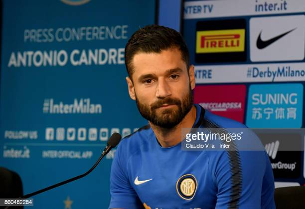 Antonio Candreva of FC Internazionale speaks with a media during the press conference at Suning Training Center at Appiano Gentile on October 12 2017...
