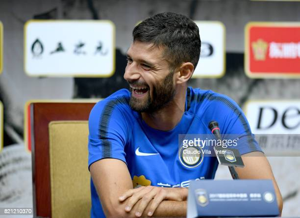 Antonio Candreva of FC Internazionale speaks with the media during a press conference on July 23 2017 in Nanjing China