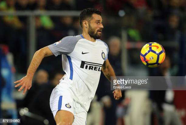 Antonio Candreva of Inter in action during the Serie A match between Cagliari Calcio and FC Internazionale at Stadio Sant'Elia on November 25 2017 in...