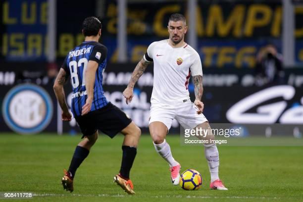 Antonio Candreva of Internazionale Aleksandar Kolarov of AS Roma during the Italian Serie A match between Internazionale v AS Roma at the San Siro on...