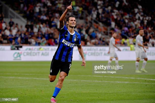 Antonio Candreva of Internazionale celebrates 40 during the Italian Serie A match between Internazionale v Lecce at the San Siro on August 26 2019 in...