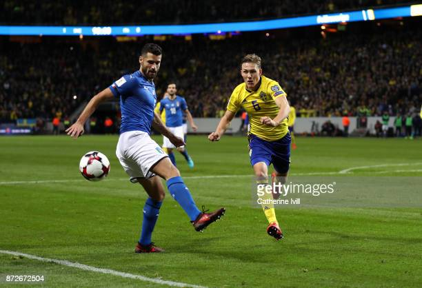 Antonio Candreva of Italy and Ludwig Augustinsson of Sweden during the FIFA 2018 World Cup Qualifier PlayOff First Leg between Sweden and Italy at...