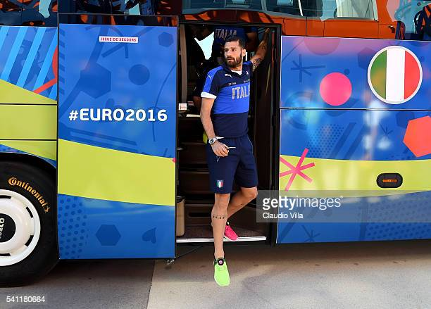 Antonio Candreva of Italy arrives at 'Bernard Gasset' Training Center on June 19 2016 in Montpellier France