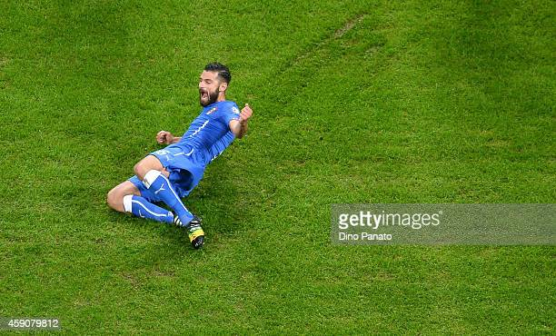 Antonio Candreva of Italy celebrates after scoring his opening goal during the EURO 2016 Group H Qualifier match between Italy and Croatia at Stadio...