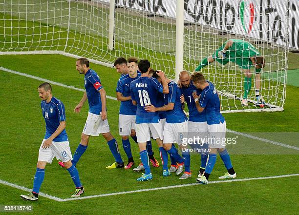Antonio Candreva of Italy celebrates after scoring his opening goal from the penalty spot during the international friendly match between Italy and...