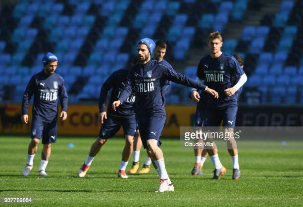 Antonio Candreva of Italy in action during a training session at Manchester City Football Academy on March 25 2018 in Manchester England