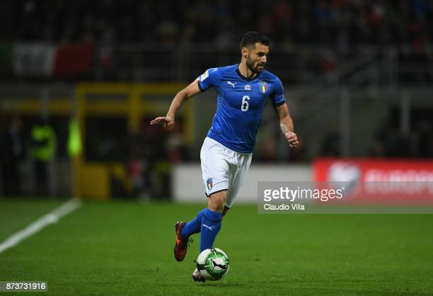 Antonio Candreva of Italy in action during the FIFA 2018 World Cup Qualifier PlayOff Second Leg between Italy and Sweden at San Siro Stadium on...
