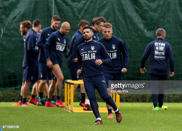 Antonio Candreva of Italy in action during the training session at Italy club's training ground at Coverciano on November 9 2017 in Florence Italy