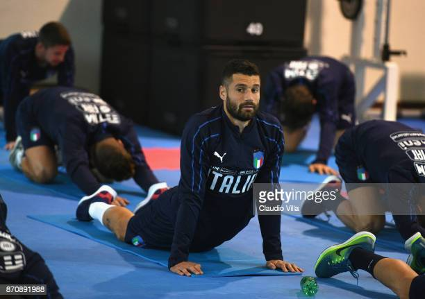 Antonio Candreva of Italy looks on during a training session at Italy club's training ground at Coverciano on November 6 2017 in Florence Italy