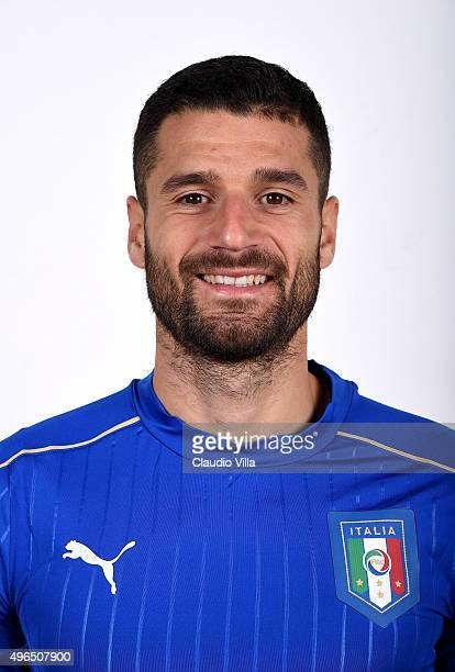 Antonio Candreva of Italy poses during the official portrait session at Coverciano on November 10 2015 in Florence Italy