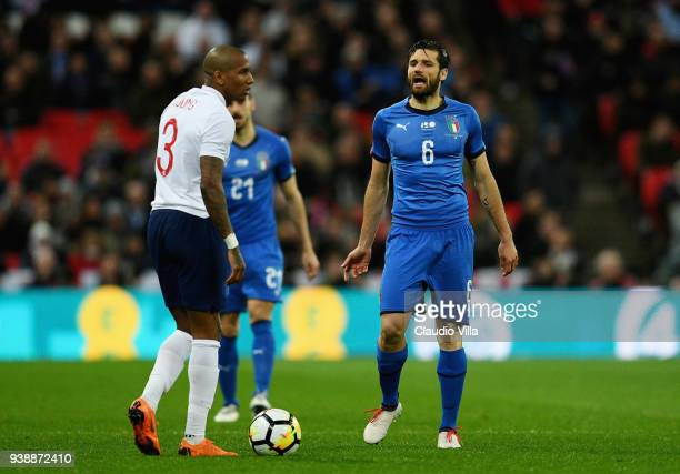Antonio Candreva of Italy reacts during the International friendly football match between England and Italy at Wembley Stadium on March 27, 2018 in...