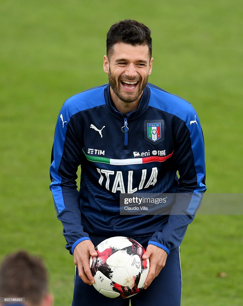 Antonio Candreva of Italy reacts during the training session at the club's training ground at Coverciano on November 10, 2016 in Florence, Italy.