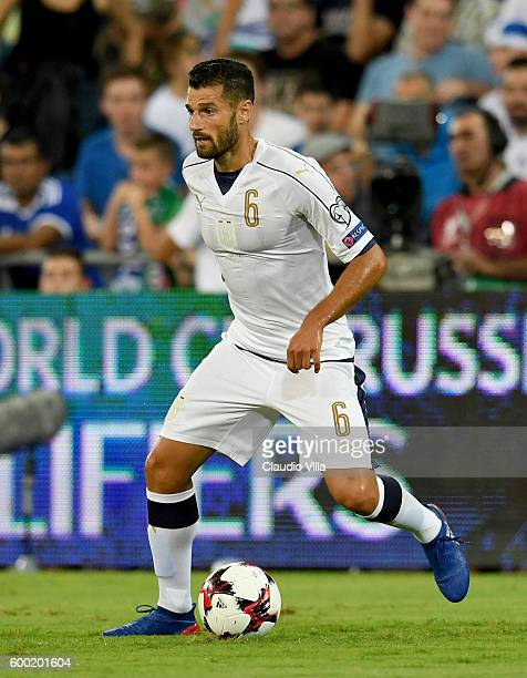 Antonio Candreva of Italy scores the opening goal during the FIFA 2018 World Cup Qualifier between Israel and Italy at Itztadion Sammy Ofer on...