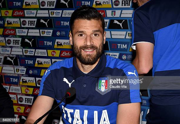 Antonio Candreva of Italy speaks with the media during a press conference at Casa Azzurri on June 15 2016 in Lyon France