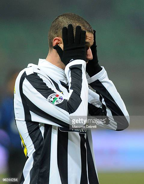 Antonio Candreva of Juventus FC looks on during the Tim Cup match between FC Inter Milan and Juventus FC at Stadio Giuseppe Meazza on January 28 2010...