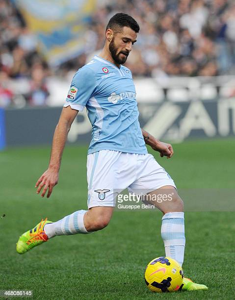 Antonio Candreva of Lazio in action during the Serie A match between SS Lazio and AS Roma at Stadio Olimpico on February 9 2014 in Rome Italy