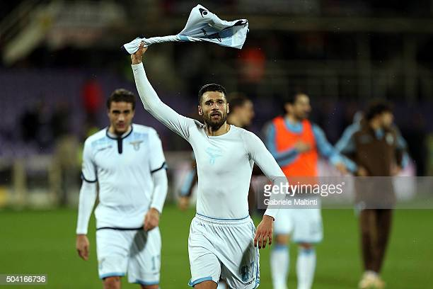 Antonio Candreva of SS Lazio celebrates the victory after during the Serie A match between ACF Fiorentina and SS Lazio at Stadio Artemio Franchi on...