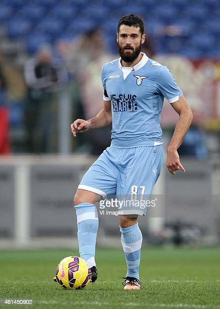 Antonio Candreva of SS Lazio during the Serie A match between AS Roma and Lazio Roma on January 112014 at the Stadio Olimpico in Rome Italy