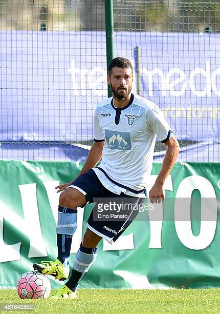 Antonio Candreva of SS Lazio in action during the preseason friendly match between SS Lazio and Vicenza Calcio on July 18 2015 in Auronzo near...