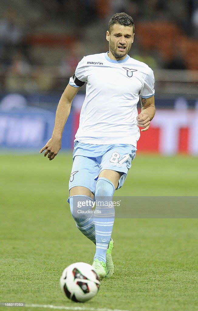 Antonio Candreva of S.S. Lazio in action during the Serie A match between FC Internazionale Milano and S.S. Lazio at San Siro Stadium on May 8, 2013 in Milan, Italy.
