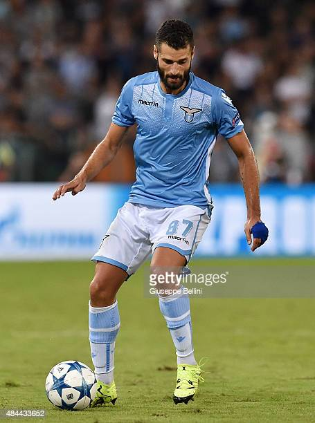 Antonio Candreva of SS Lazio in action during the UEFA Champions League qualifying round play off first leg match between SS Lazio and Bayer...