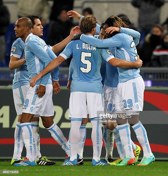 Antonio Candreva with his team mates of SS Lazio celebrates after scoring the opening goal from penalty spot during the Serie A match between SS...