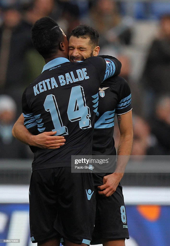 Antonio Candreva (R) with his teammate Diao Keita Balde of SS Lazio celebrates after scoring the team's third goal during the Serie A match between SS Lazio and AC Chievo Verona at Stadio Olimpico on January 24, 2016 in Rome, Italy.