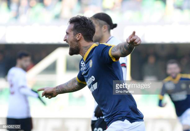 Antonio Caracciolo of Hellas Verona celebrates after scoring his opening goal during the Serie A match between Hellas Verona FC and AC Milan at...