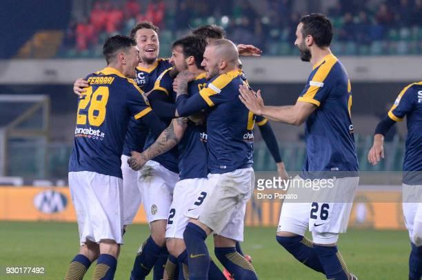 Antonio Caracciolo of Hellas Verona celebrates after scoring his opening goal during the serie A match between Hellas Verona FC and AC Chievo Verona...
