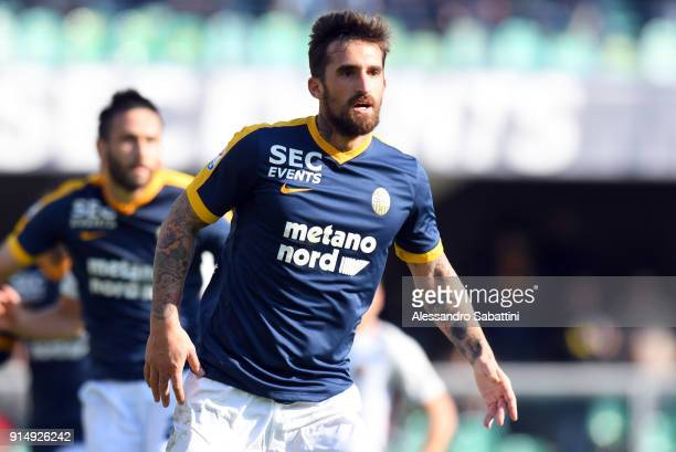 Antonio Caracciolo of Hellas Verona FC looks on during the serie A match between Hellas Verona FC and AS Roma at Stadio Marc'Antonio Bentegodi on...