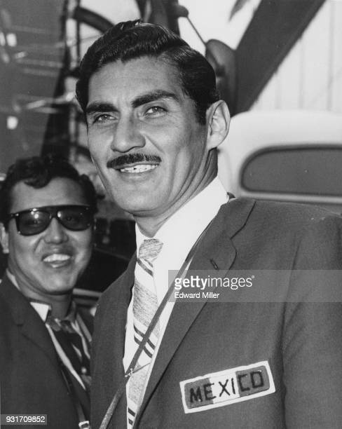Antonio Carbajal the Mexican goalkeeper arrives at London Airport with the rest of the national team to play England at Wembley 4th May 1961