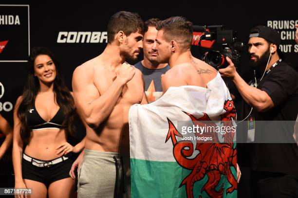 Antonio Carlos Junior of Brazil and Jack Marshman of South Wales face off during the UFC Fight Night Weighin inside the Ibirapuera Gymnasium on...