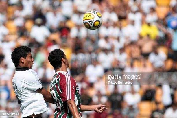 Antonio Carlos of Corinthians vies for the ball with Igor of Fluminense during the final match of the Copa de Juniores 2012 at the Pacaembu stadium...