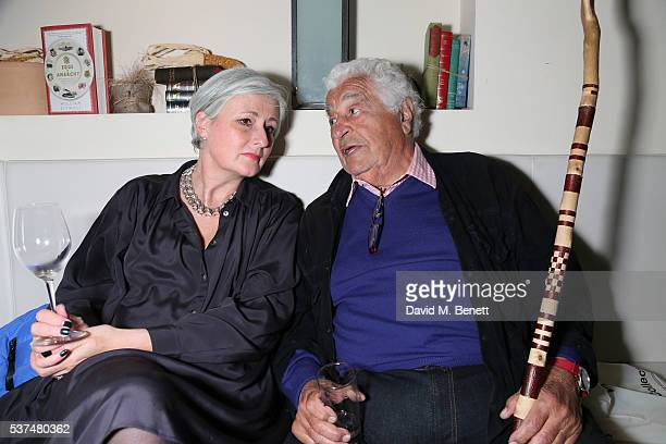 Antonio Carluccio and Clare Blampied attend the launch of new book 'Eggs Or Anarchy' by William Sitwell at Li Veli on June 1 2016 in London England